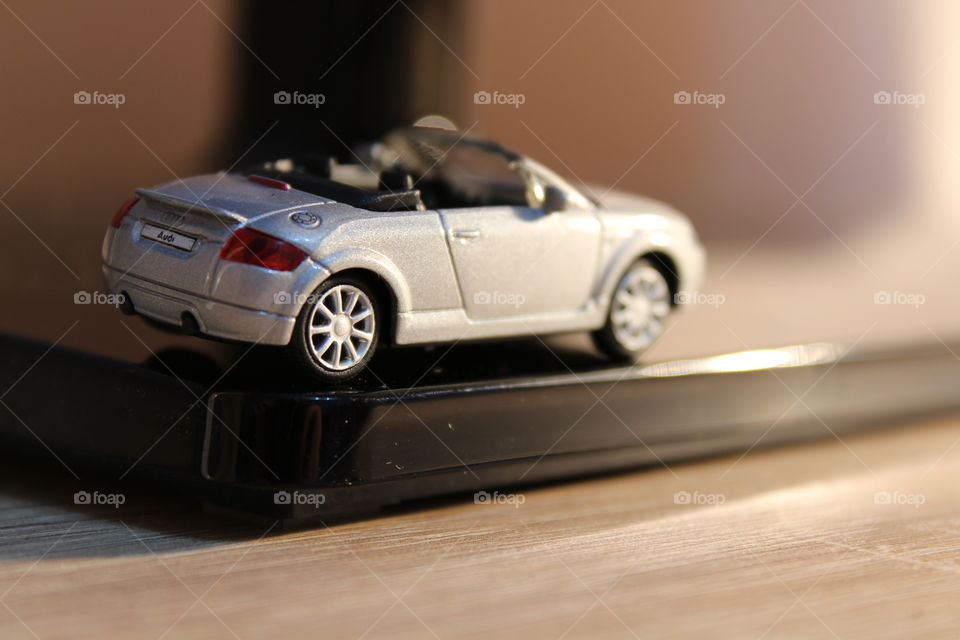 Audi miniature toy car close-up