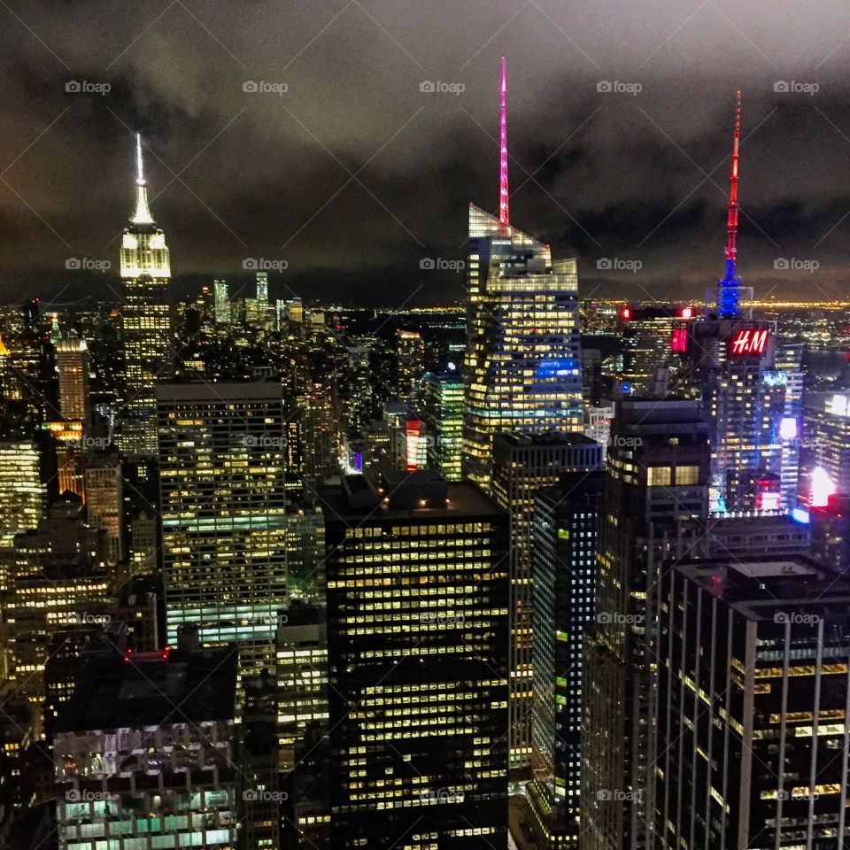 New York City Skyline from Rockefeller Center as clouds roll in over Manhattan