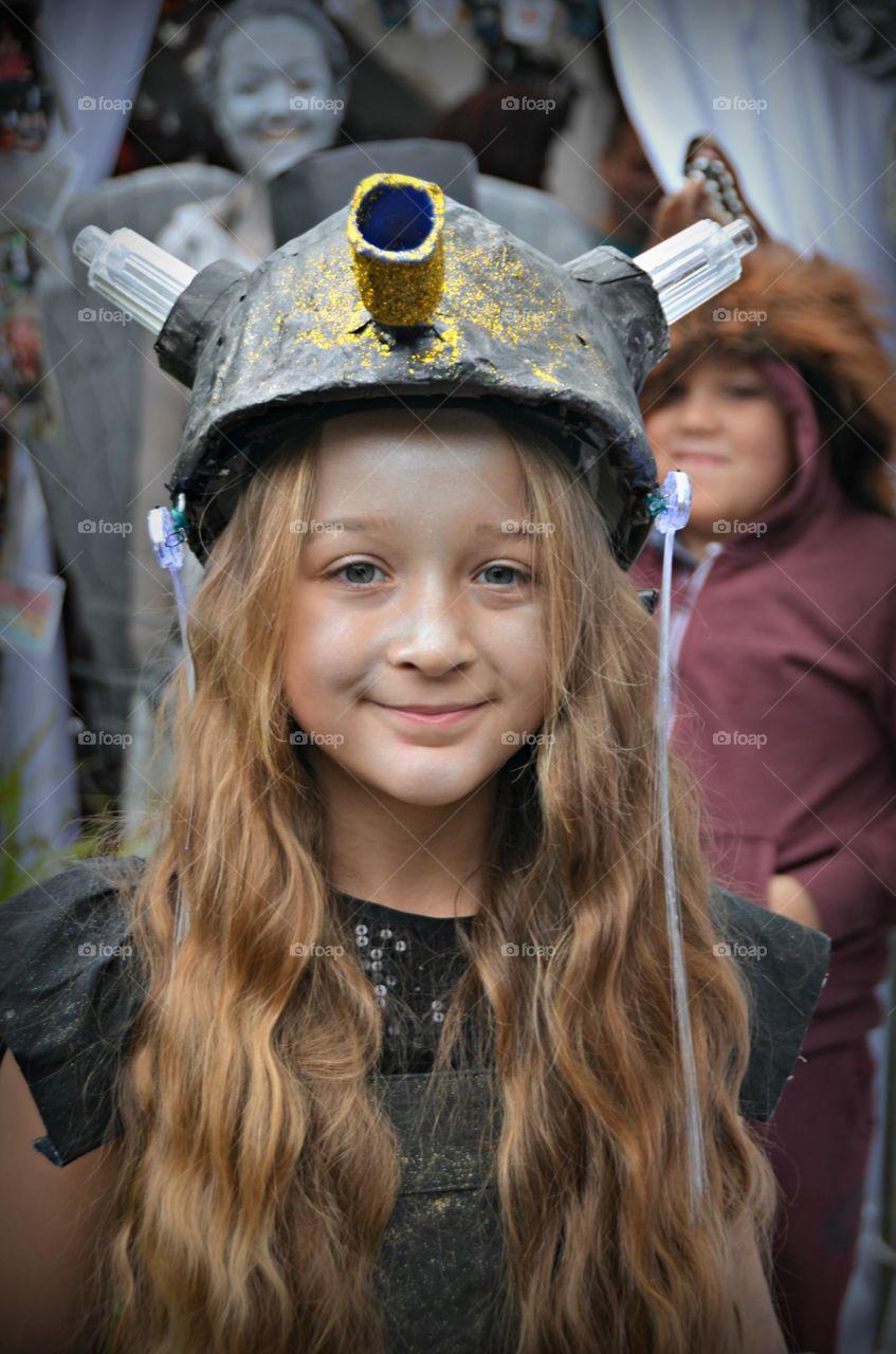girl dressed as a darlek.  doctor who costume