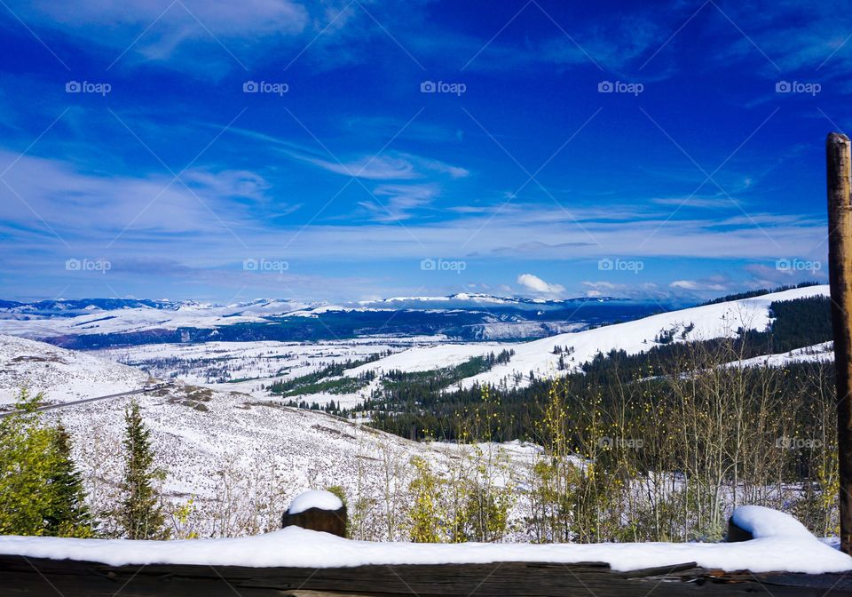 High angle view of snowy landscape