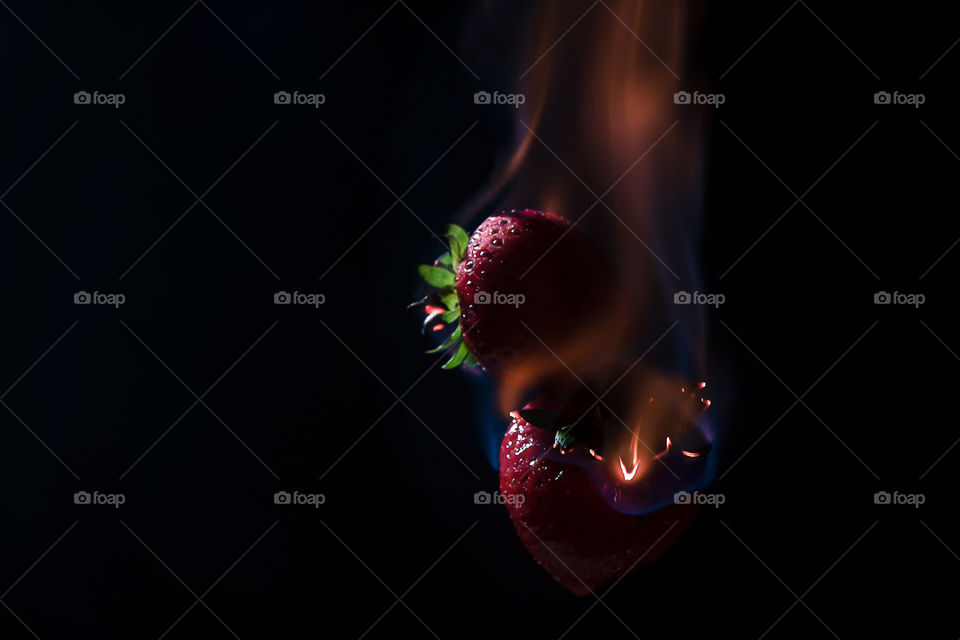 strawberries in flames