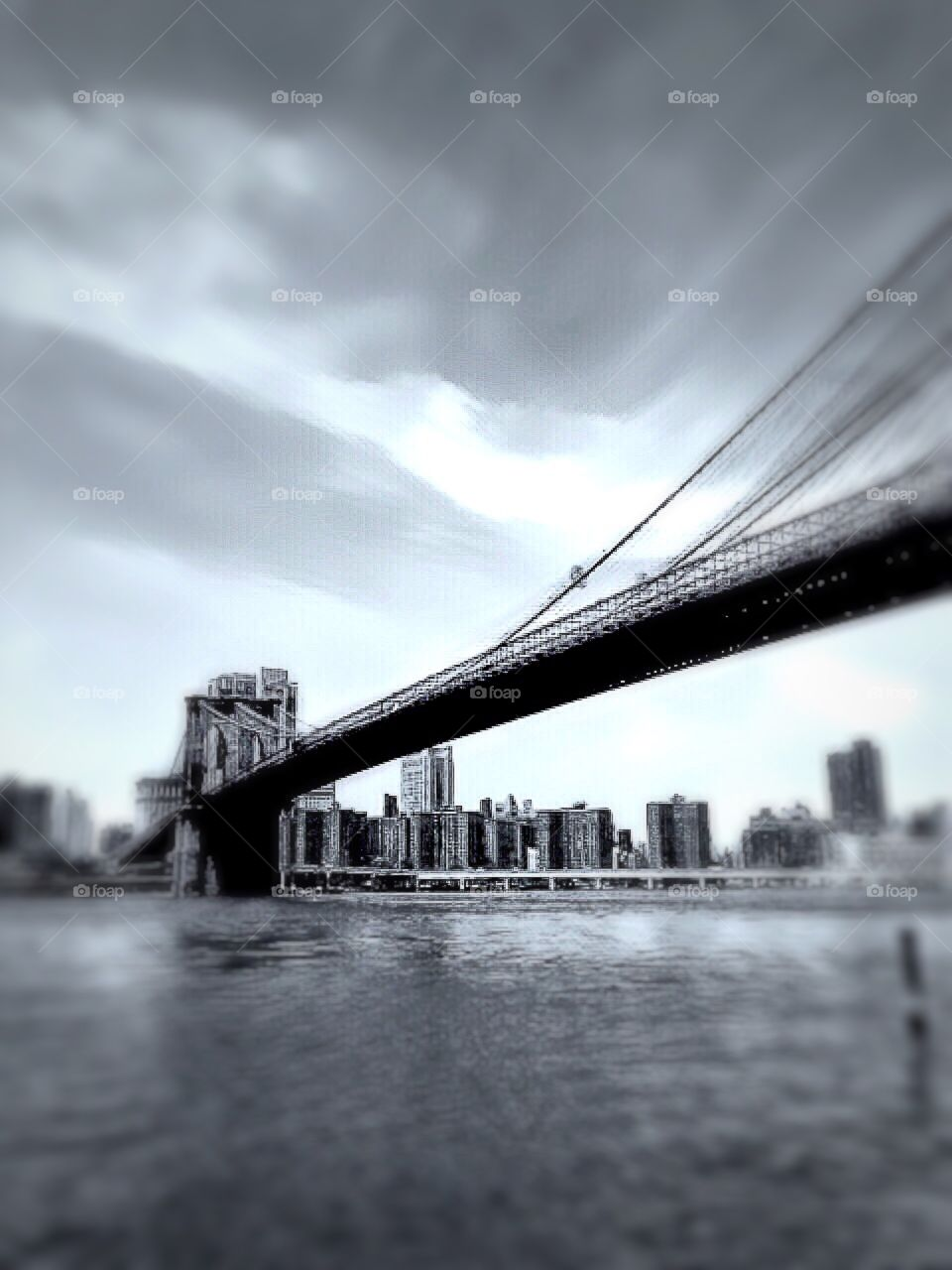 Brooklyn Bridge , Black - and - white photo