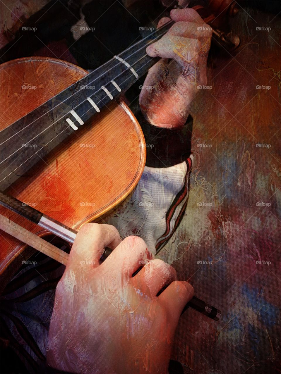 Working hands and violin painting effect