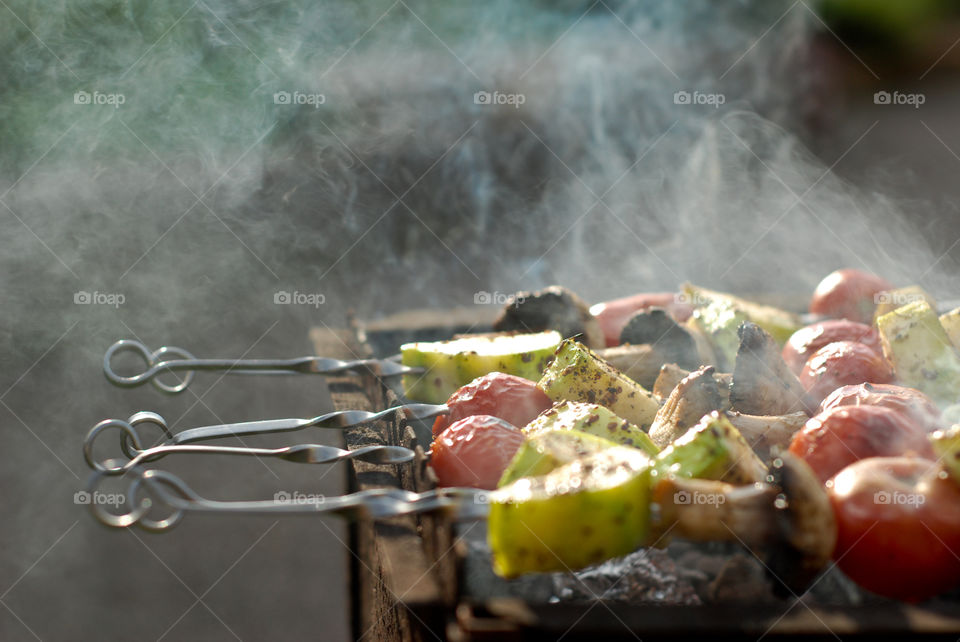Grill and veggies