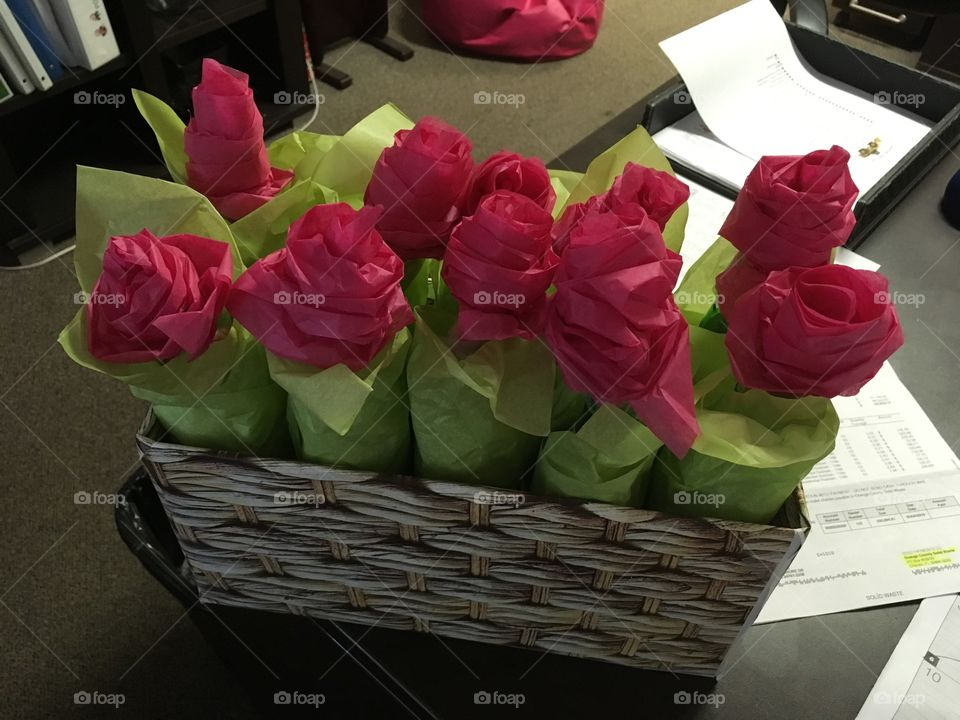 One dozen Yueling beer bottle roses for Saint Valentine's Day made with tissue paper