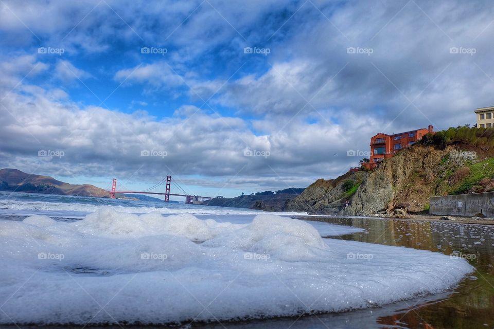 A view of the Golden Gate Bridge from Baker Beach.