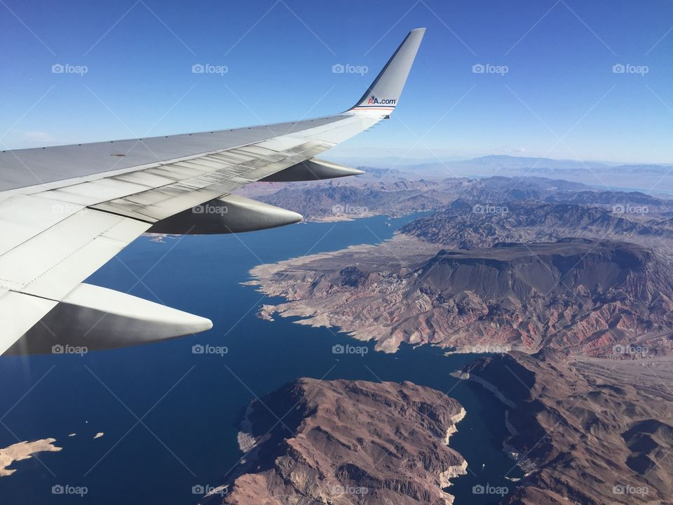 Lake Mead by air. Aerial photo of Lake Mead, Nevada