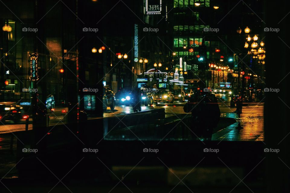 Night time shot of the streets of Chicago.