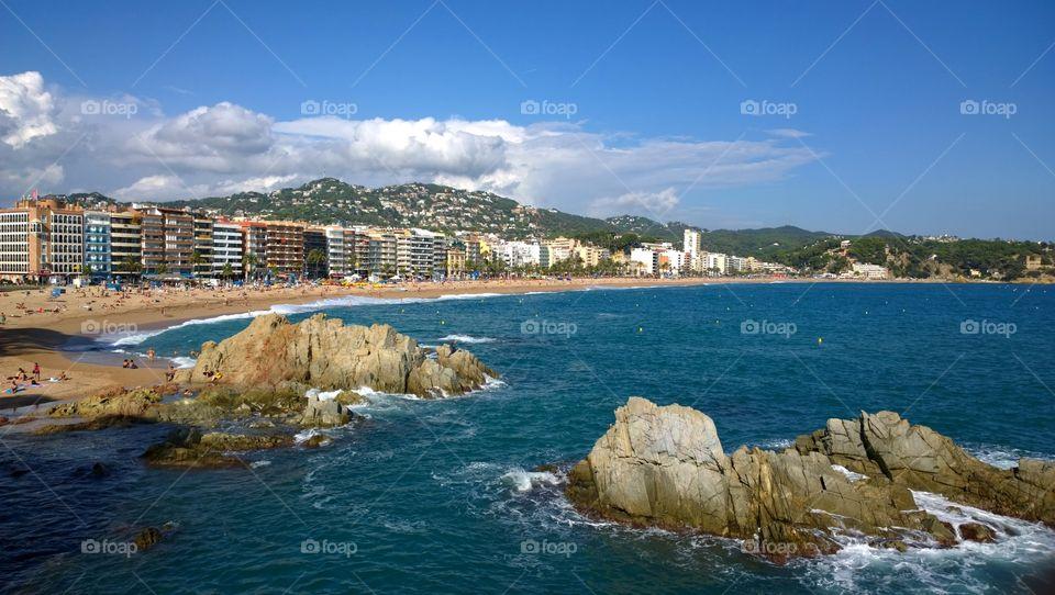 Beach in Lloret de Mar, Spain. Landscape of the beach in Lloret de Mar, Costa Brava, Spain