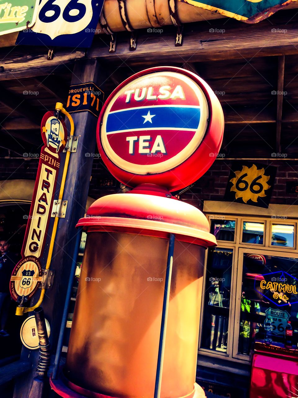 Texas Tea brand of gasoline sold exclusively in radiator springs at Disney's California adventure in Anaheim California.