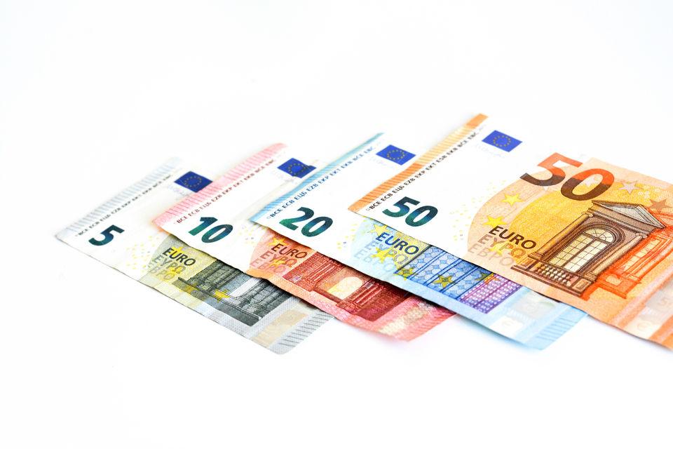 Euro money banknotes on white