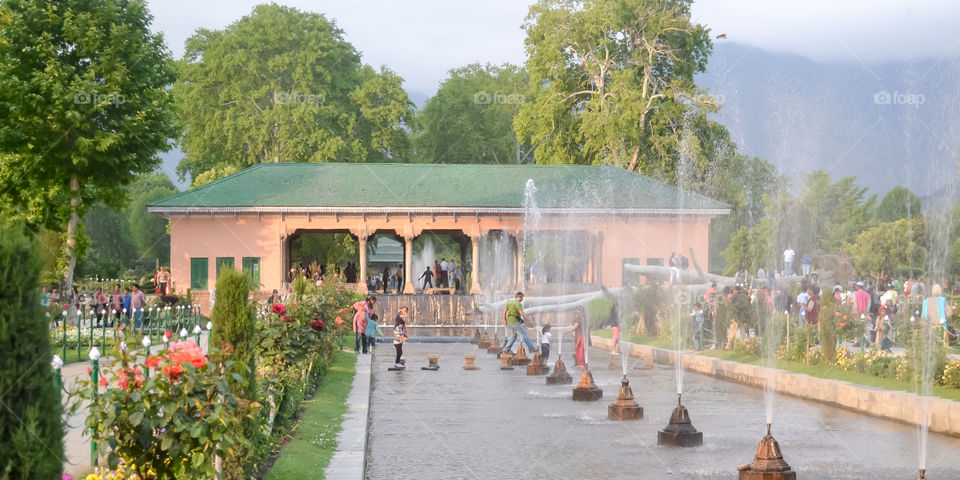 """Shalimar Bagh, Mughal garden, January 10 2019: Inside view of Shalimar Bagh of horticulture, also called the """"Crown of Srinagar"""", located on Srinagar city in Jammu and Kashmir, India."""