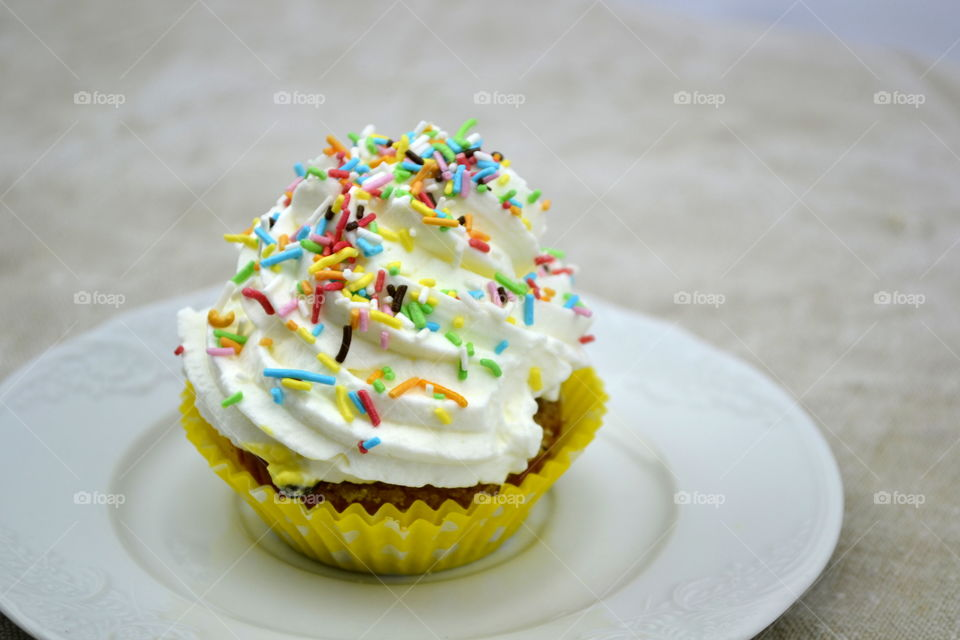 Close-up of cupcake in plate