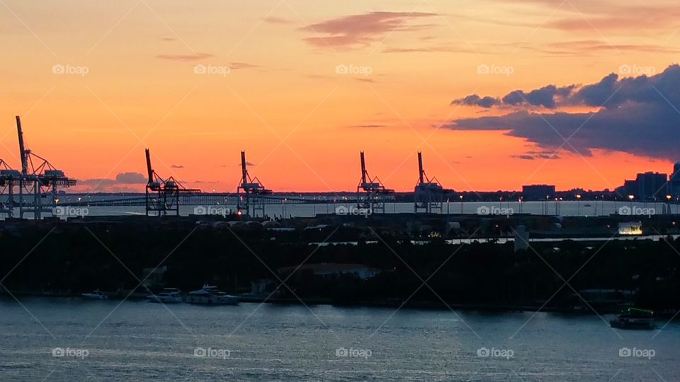 Sunset over Dodge island Miami Florida..This is where the container ships load and unload products