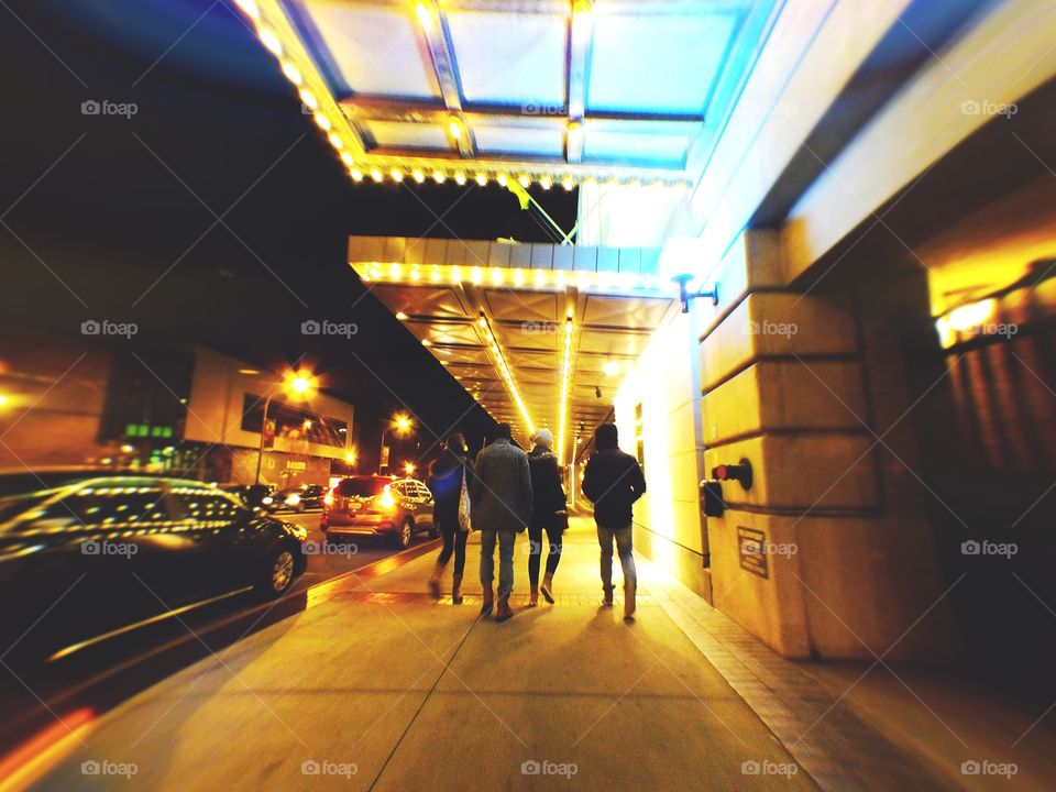 Downtown walks with friends at night