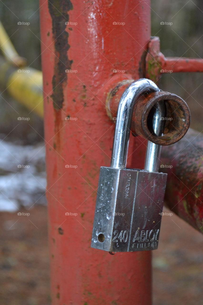 Close-up of steel padlock