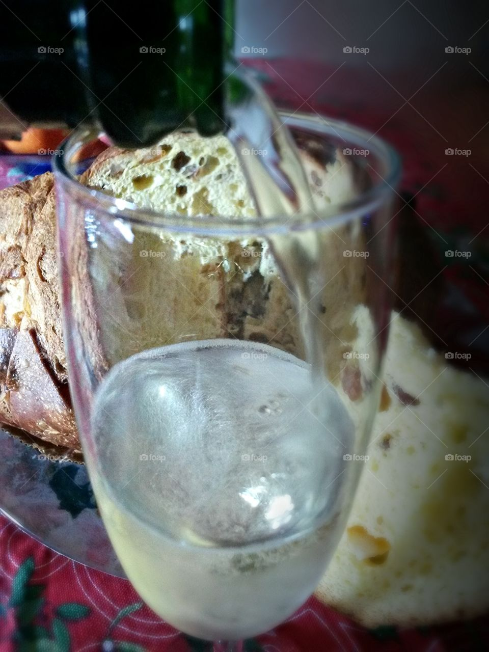 sparkling wine and italian traditional panettone for christmas celebration