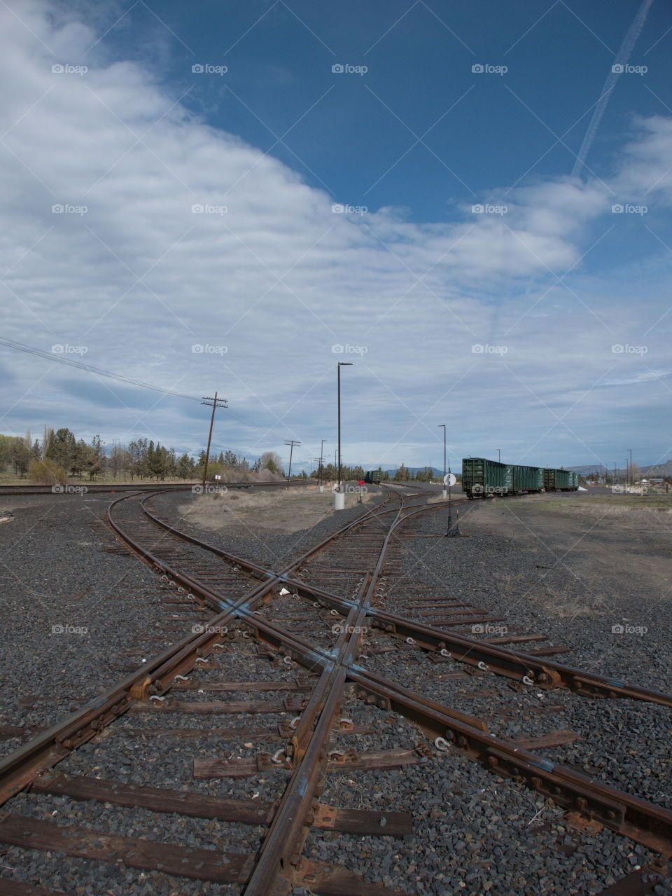 A few abandoned train cars on tracks that criss-cross each other on a sunny spring day in Central Oregon.