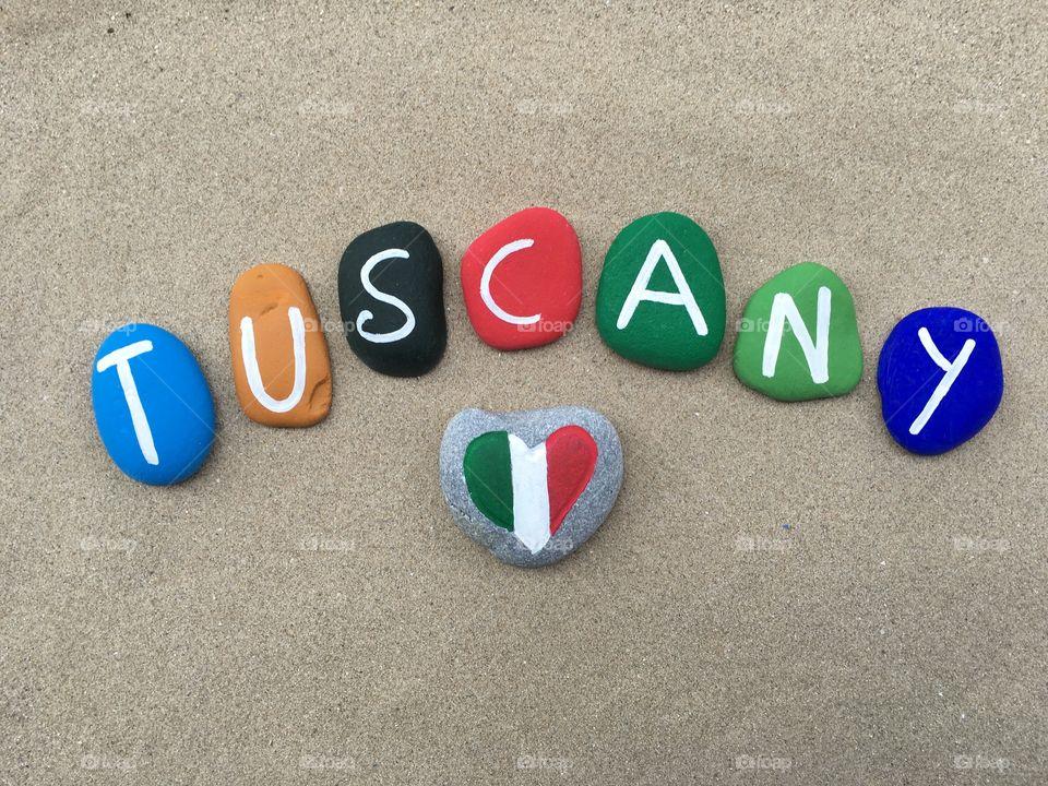 Tuscany region, Italy, souvenir on colored stones