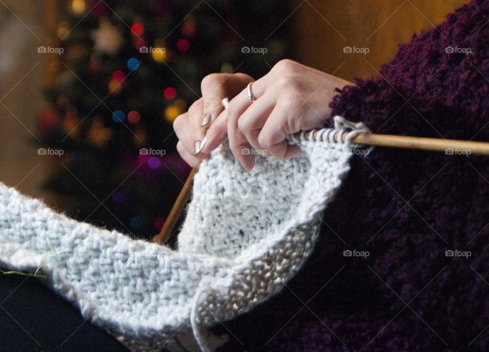 Close-up of a woman knitting