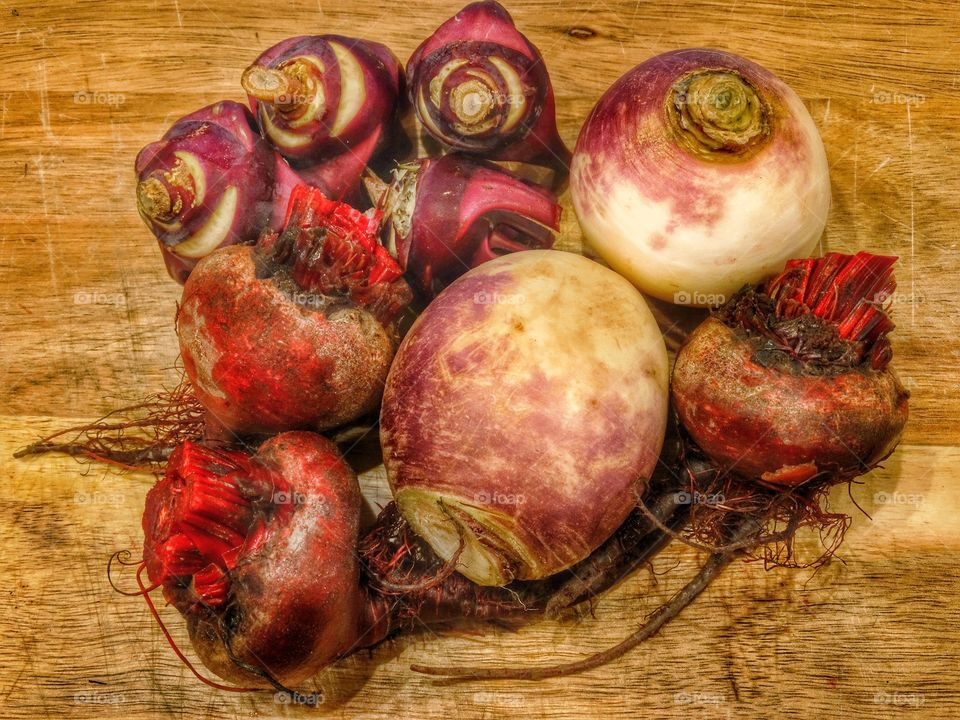 Organic red beets and turnips