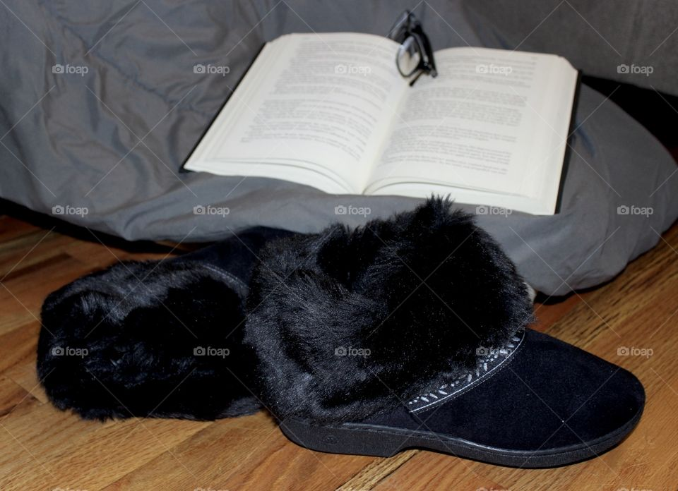 Book, glasses, and Black Faux Fur Slippers