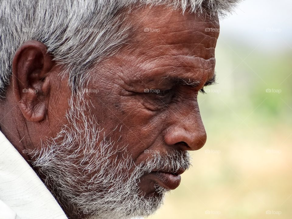 Side view of an senior indian man