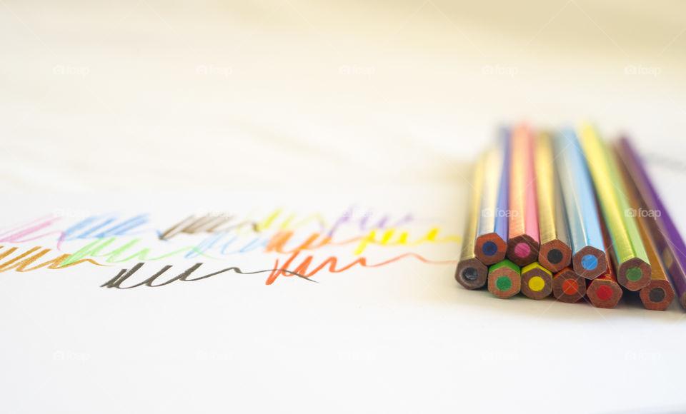 Coloured crayon