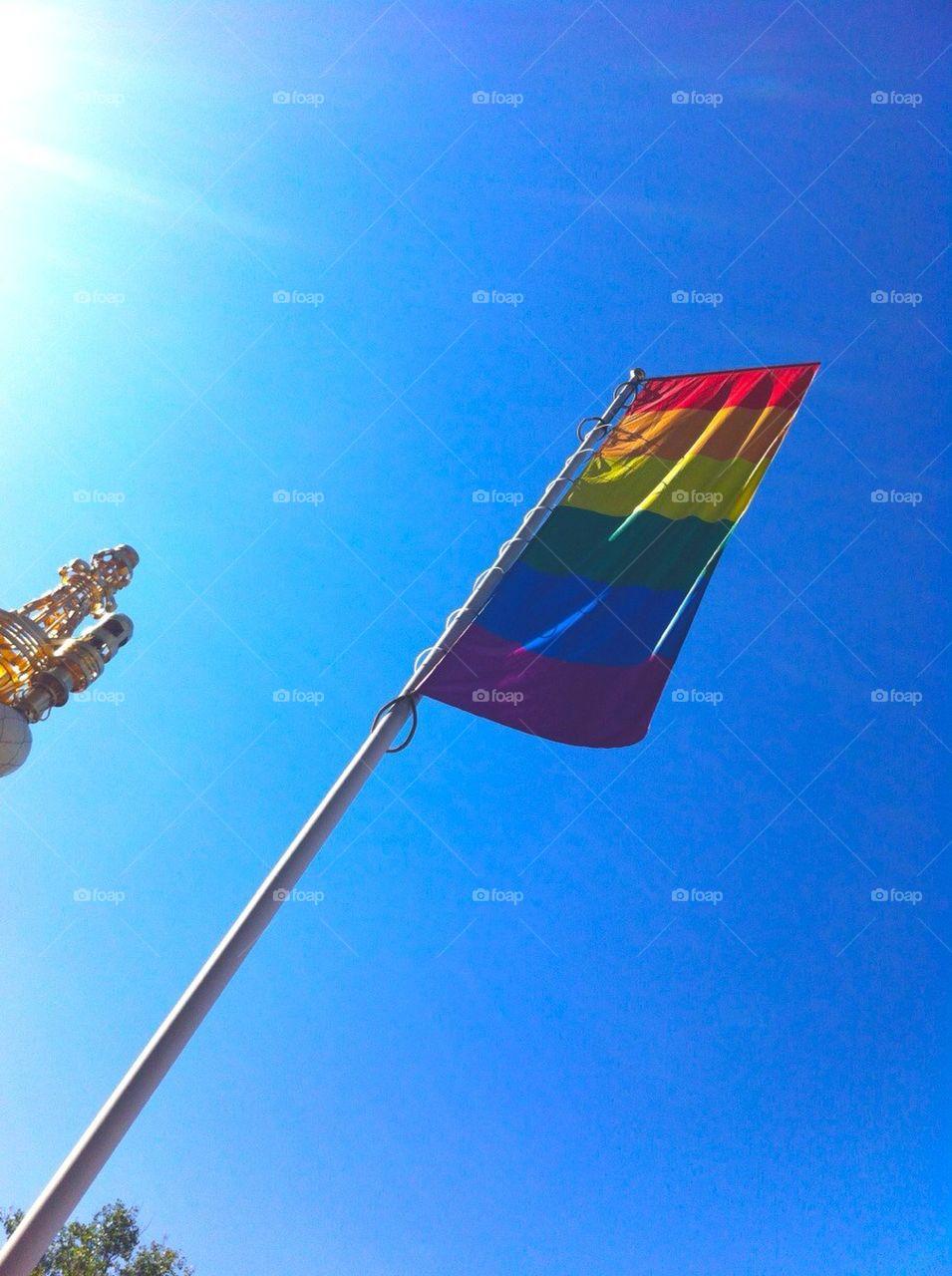 Prideflag outside Dramaten, Stockholm, Sweden