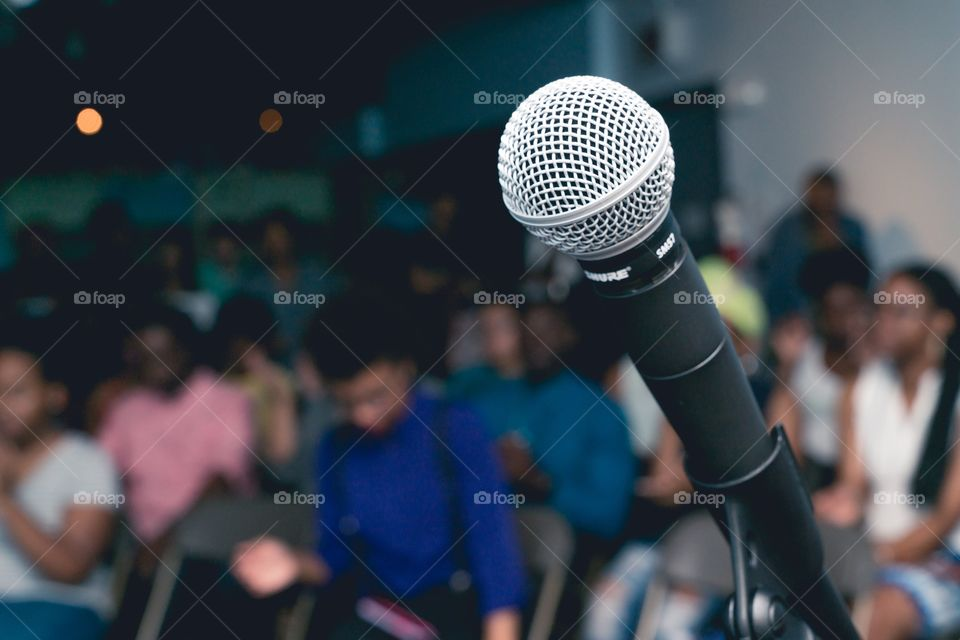 Microphone at a live event.
