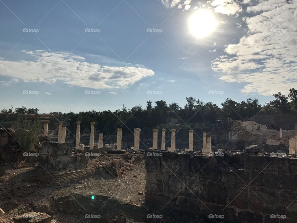 Ancient Roman ruins of Bet She'an, a 4,000 year old city on the Via Mares in Israel. One of the cities of the Decapolis.