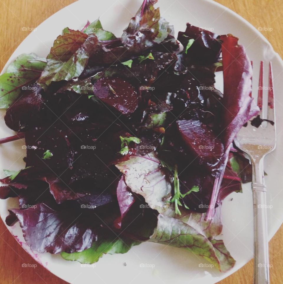 Beet salad with beet greens. Fresh picked from the garden.