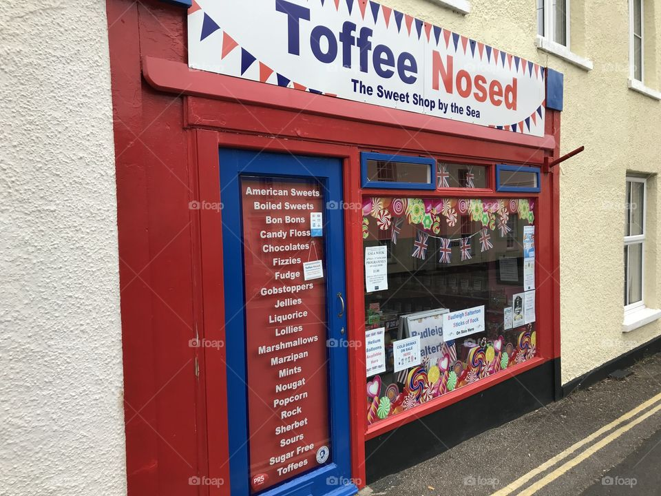 """""""Toffee Nosed"""" is a term suggesting that a person is snooty and self important, here this sweet shops business name, is a permanent reminded of the kind of reputation this town has, delivered in fun, this kind of humor works for this retailer."""