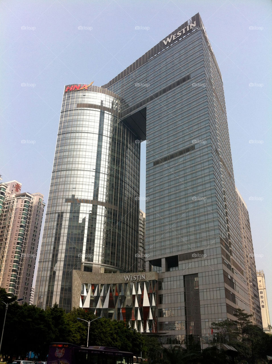 A beautiful shot of a hotel and office complex in downtown Guangzhou,