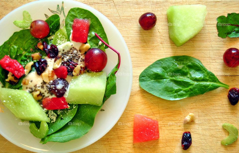 Flat Lay of Waldorf Salad and ingredients