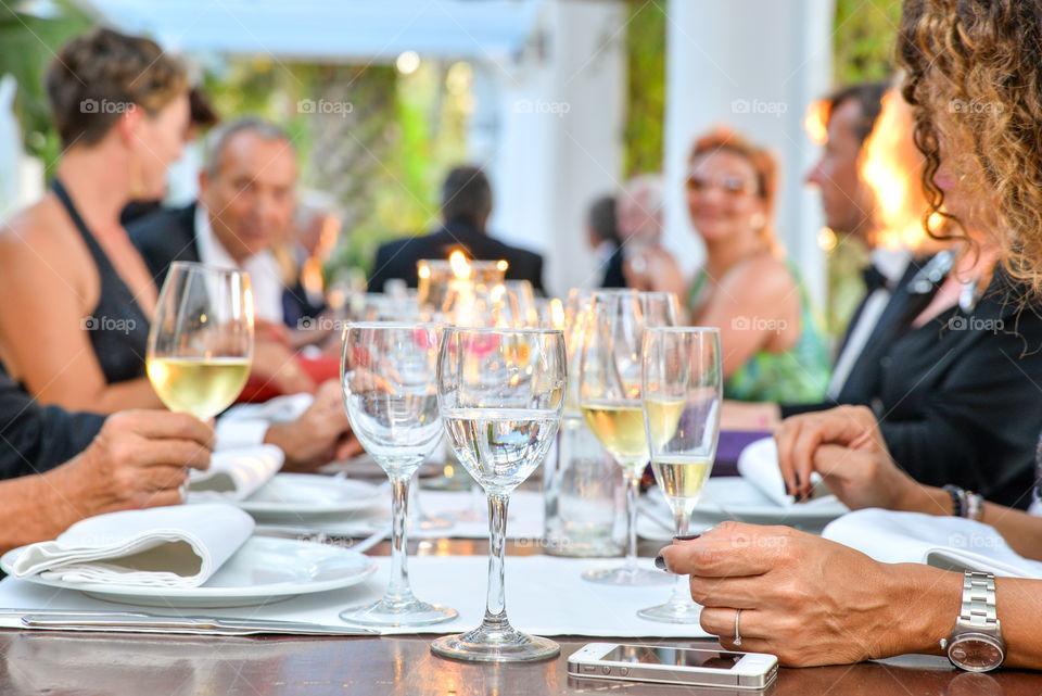 Dinner in a restaurant in Ibiza