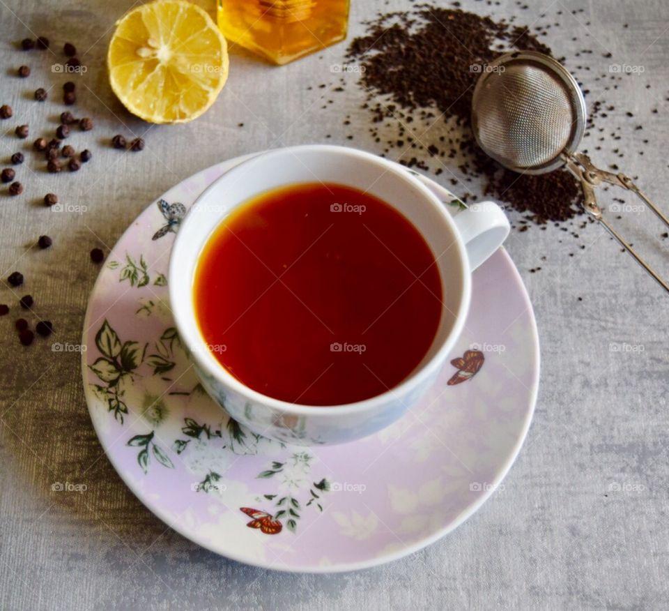 Honey lemon black pepper tea
