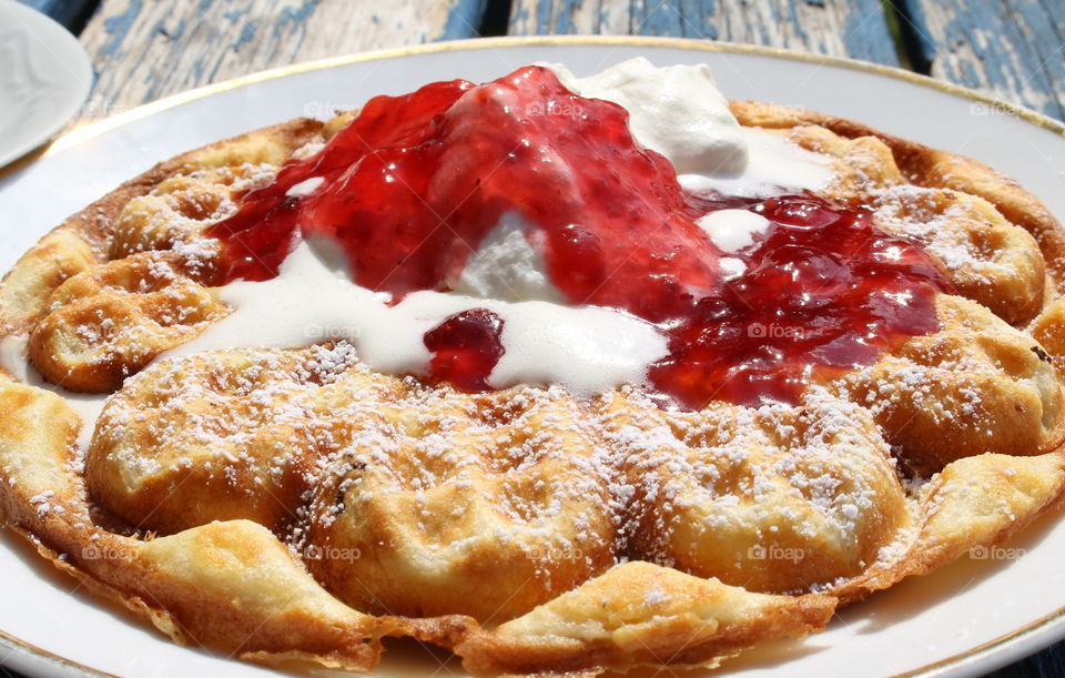 Delicious waffle with jam - mmmmm!