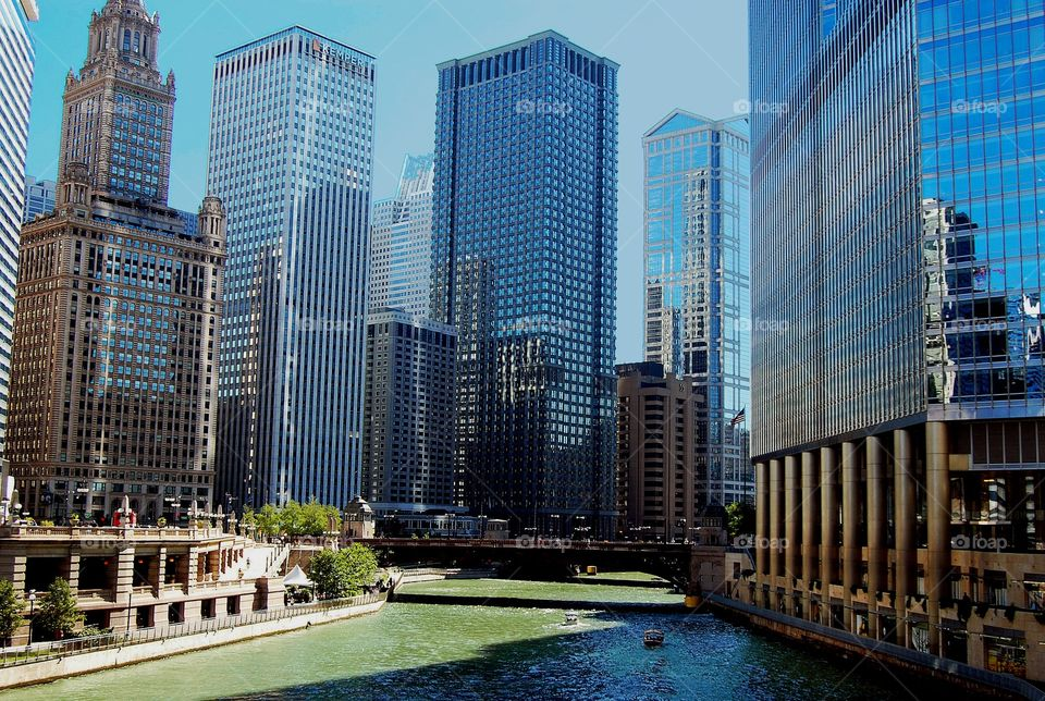 Chicago river. Chicago river in the downtown