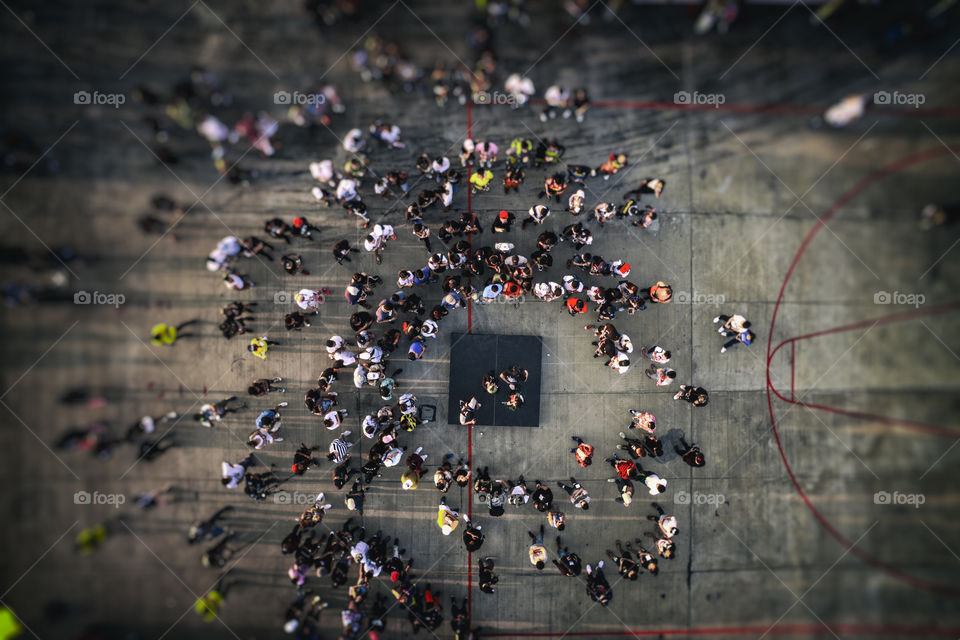 Drone aerial view from above of People crowd