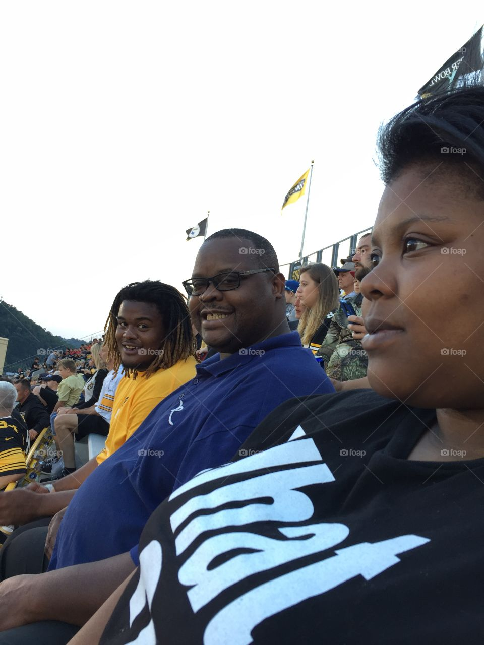 Here WeGo Steelers, Here we go!! My beloved son, husband and daughter awaiting the start of the game at Hienz field.