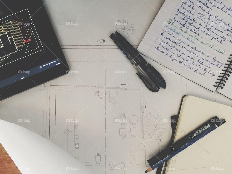 desk of an architecte . desk when studying