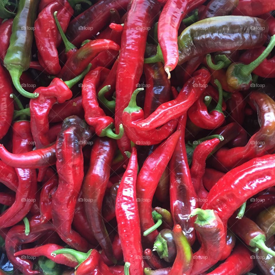 Red chili peppers hot