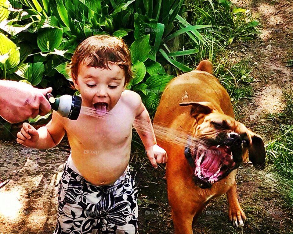 Summer   acriner, sprinkler, hose, kids