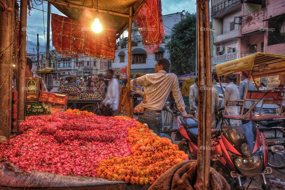 Flower Garland Stall, Varanasi, India . Flower Garland Stall, Varanasi, India
