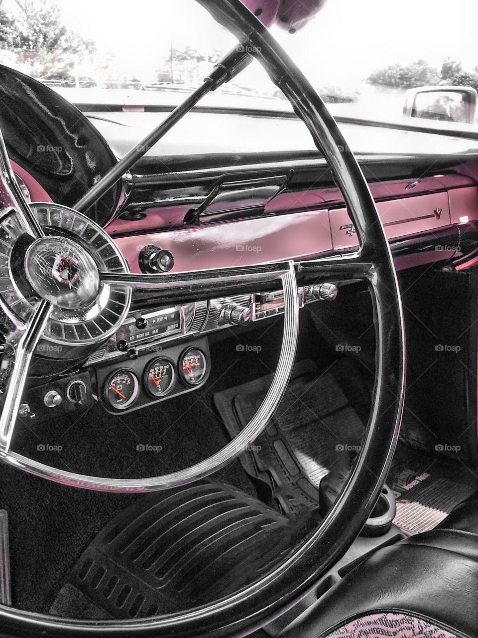 pink. interior 1956 Ford Fairlane