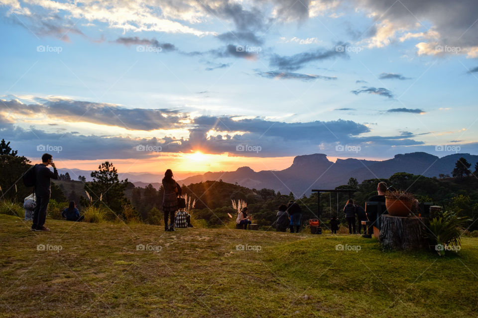 Campos of Jordão SP Brazil-06 of may of 2021: view of a mountain known as Pedra do Baú watching the sunset