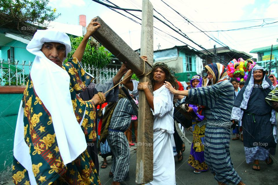 catholic reenact the death of jesus christ on good friday during holy week in cainta, rizal, philippines, asia