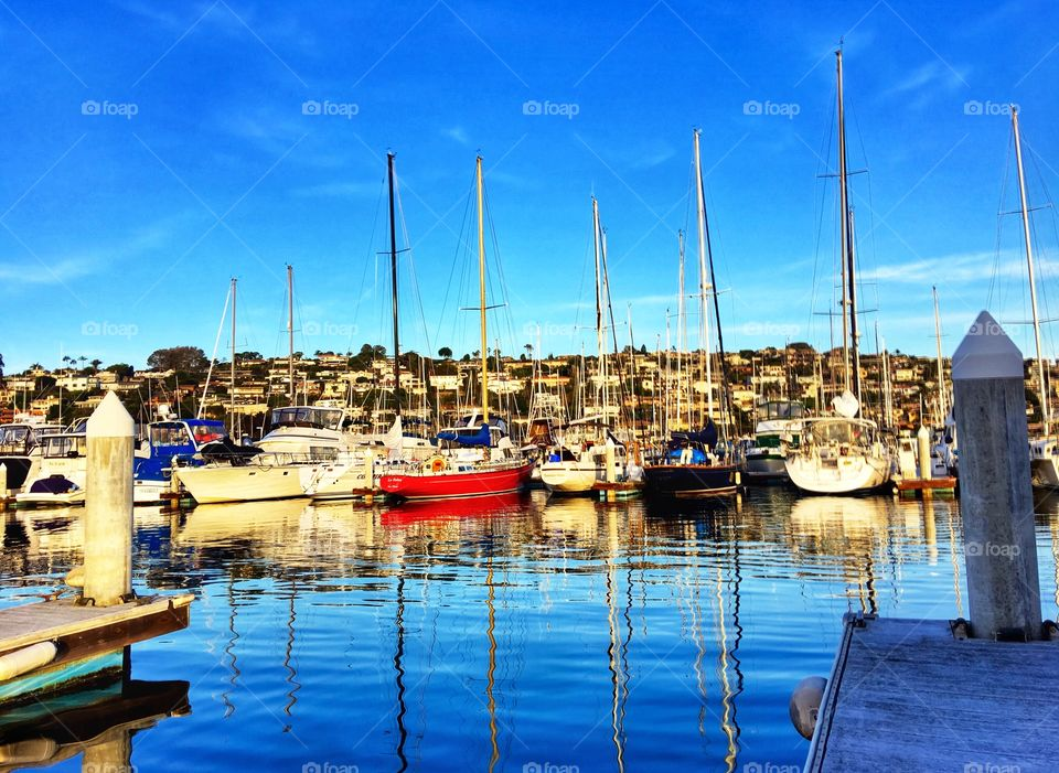 San Diego's Harbors, Beautiful, Colorful Boats with Reflections