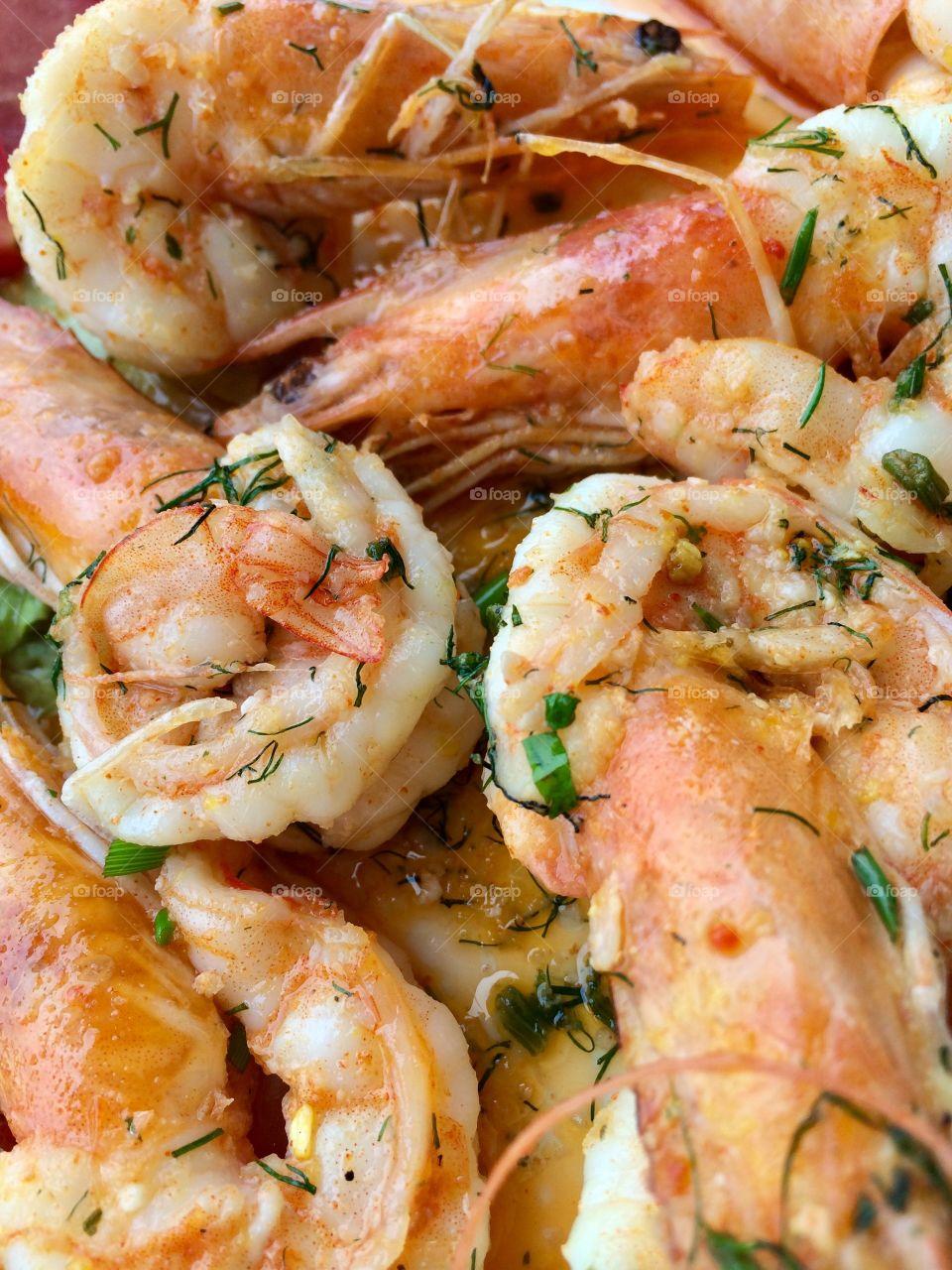 Close-up of prawns